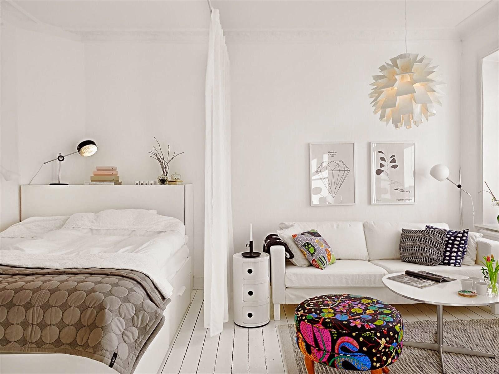 decoraci n f cil small low cost apartamentos peque os el dormitorio en el sal n. Black Bedroom Furniture Sets. Home Design Ideas