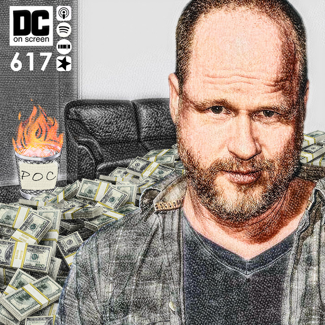 "Joss Whedon with piles of money, a casting couch, and a burning waste basket labeled ""POC"""