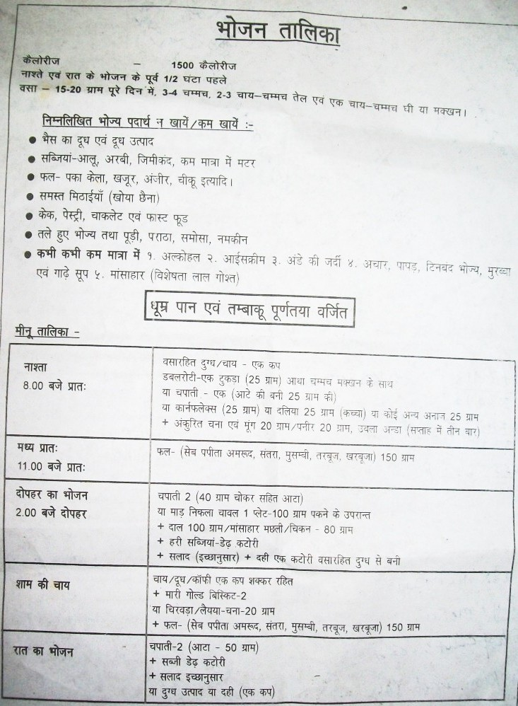 ... or print this chart for indian diet for weight loss in 30days in hindi