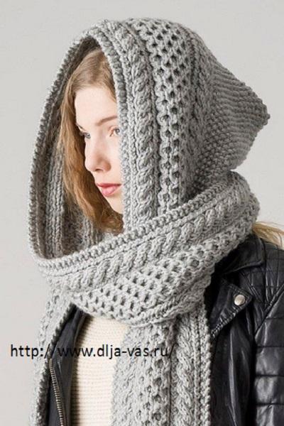 Вяжем теплый шарф капюшон спицами.