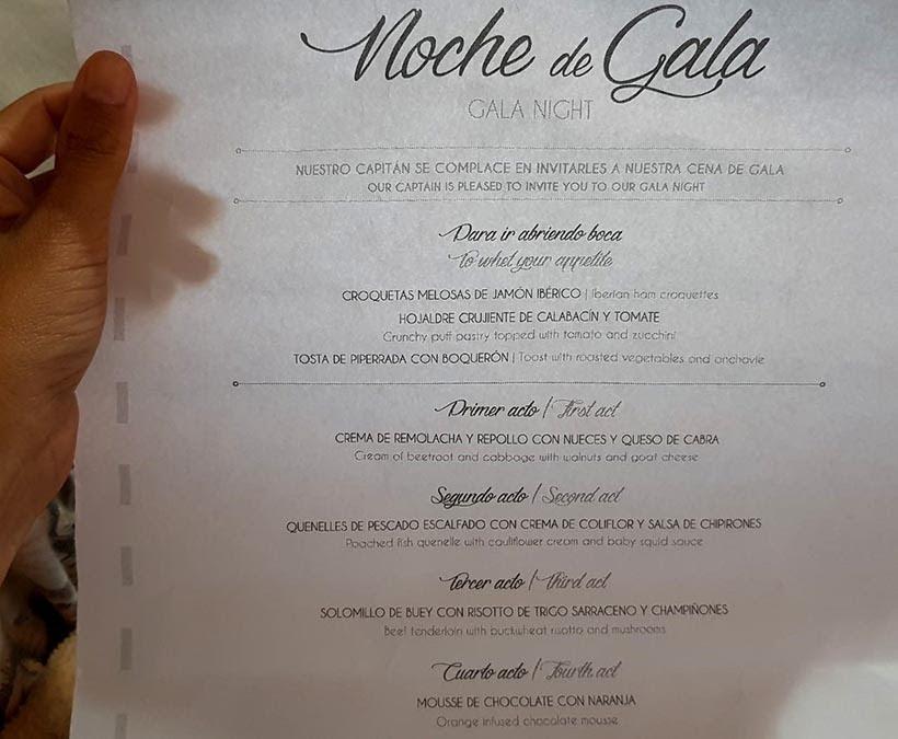 Menu do jantar de gala- Cruzeiros marítimos: tudo sobre viagem de navio