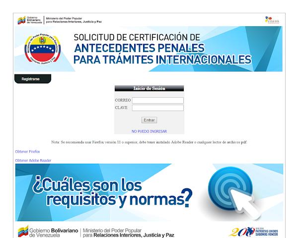 Como Solicitar los Antecedentes Penales en Venezuela ?  + Ingresar  Registrarse