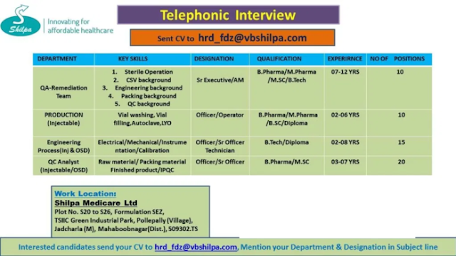 Shilpa Medicare | Telephonic interview for Production/QC/QA /Engg  | Send CV