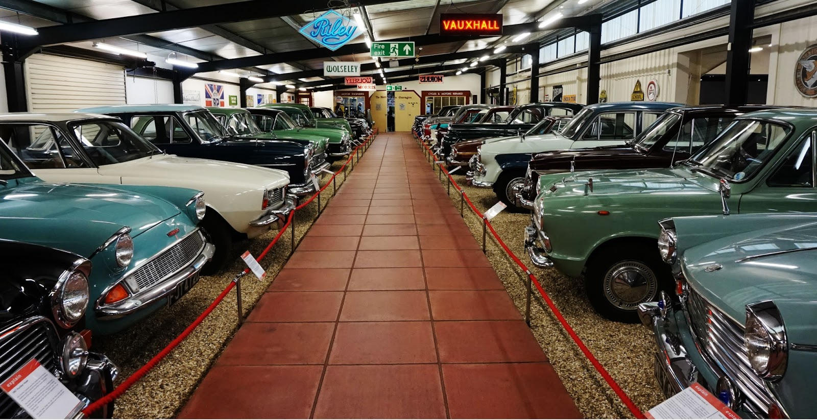 hall of motor sports classic car line up vauxhall morris minor ford haynes motor museum