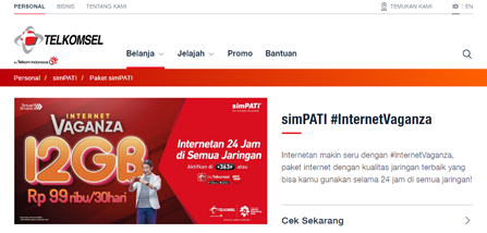 Tampilan website telkomsel