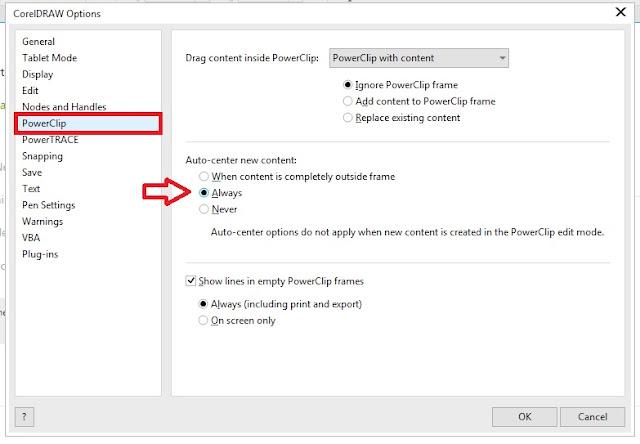 PowerClip CorelDRAW Otomatis Rata Tengah