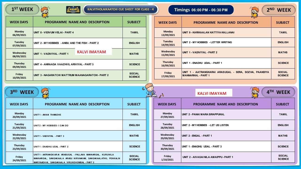 4th Standard  September Month Kalvi TV Time Table