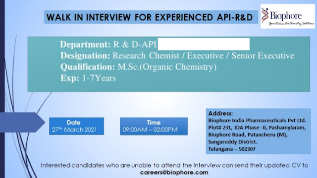 Biophore India | Walk-in interview for R&D on 27th Mar 2021 at Hyderabad