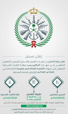 اعلان وزارة الدفاع السعودية عن فتح التسجيل دورة الضباط الجامعيين