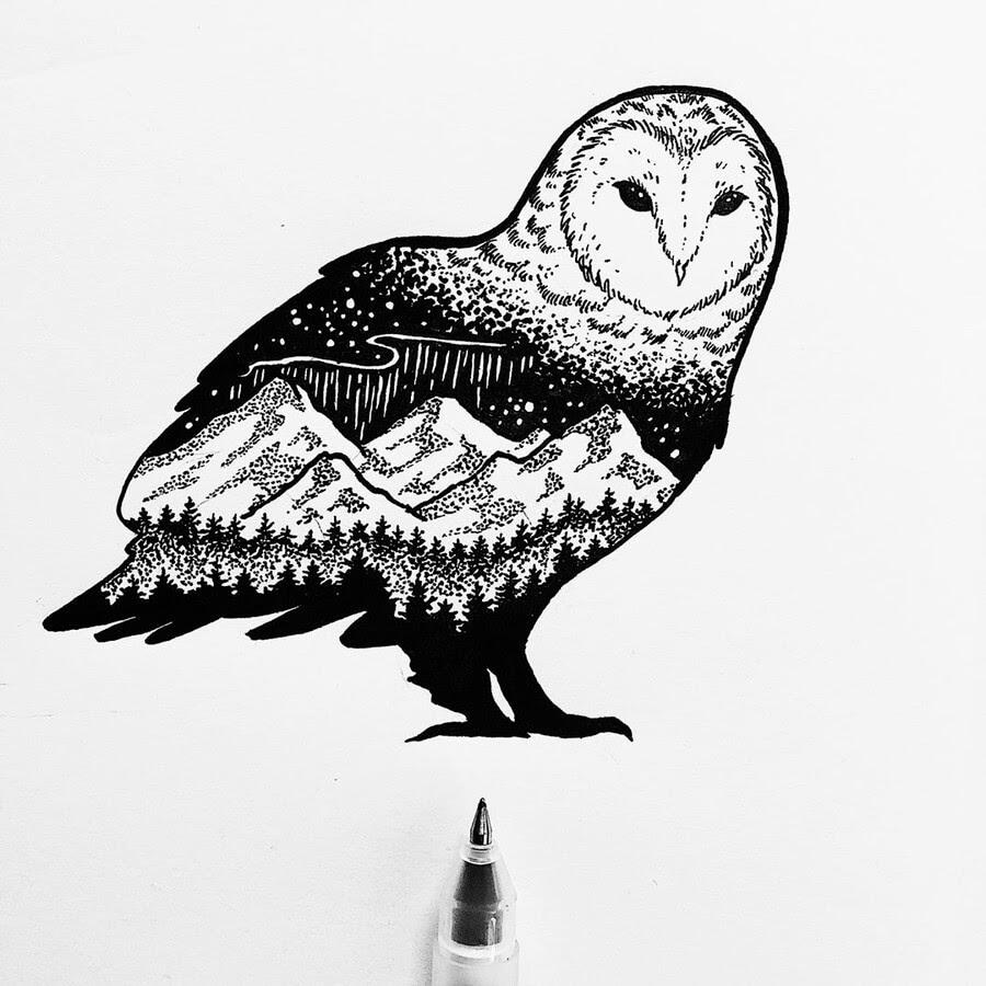 09-Owl-Ink-Drawings-Stephanie-Mai-www-designstack-co
