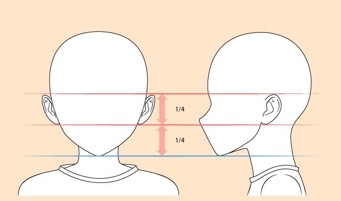 Menggambar telinga anak anime