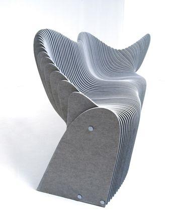 Ławka nowoczesna betonowa płyta włóknowa 3d