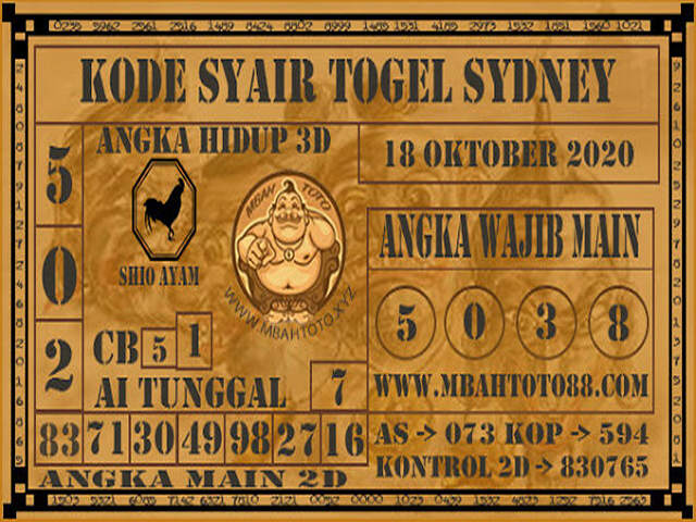 Kode syair Sydney Minggu 18 Oktober 2020 144