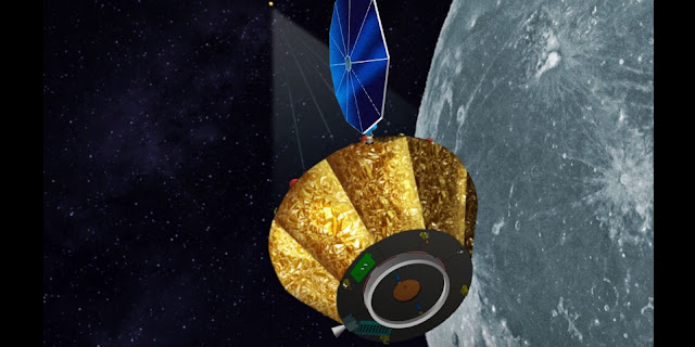 An artist's rendering of the LOX satellite orbiting the moon. Image Credit: UAH