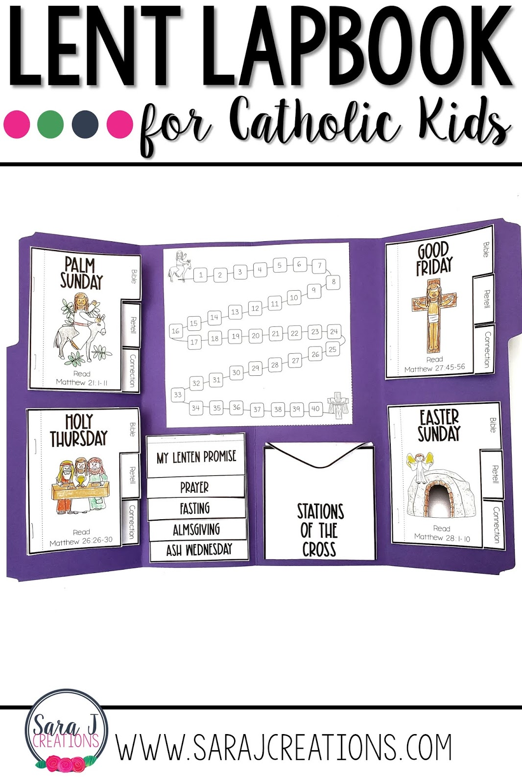 Use this Catholic Lent lapbook to help your students grow closer to Jesus through scripture and Catholic traditions & devotions.