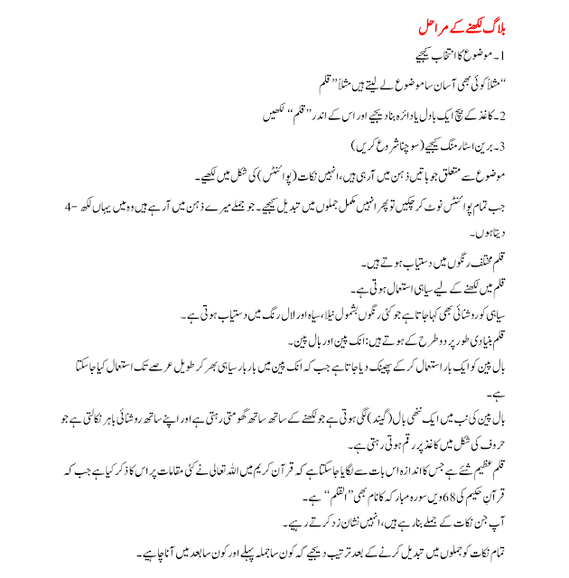 Stages of writing a Blog in urdu