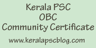 Kerala PSC Community Certificate For OBC - Format