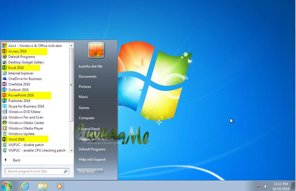 Windows 7 SP1 Incl Office 2016