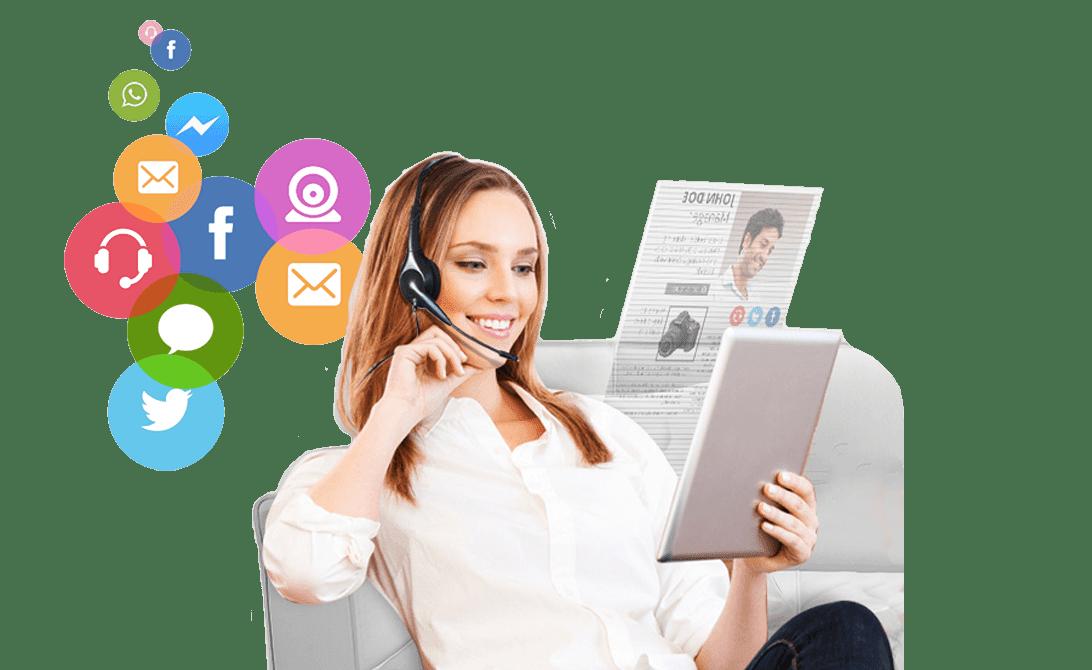 Imagen de Operadora y logos de redes sociales contactos