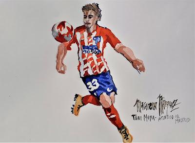 Toni Moya. Atlético de Madrid. Pintar un futbolista con Acuarela Paso a Paso