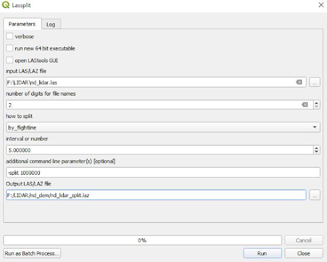 Lassplit window tool QGIS