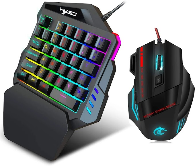 YOUPECK RGB One Hand Mechanical Gaming Keyboard and Backlit Mouse Combo