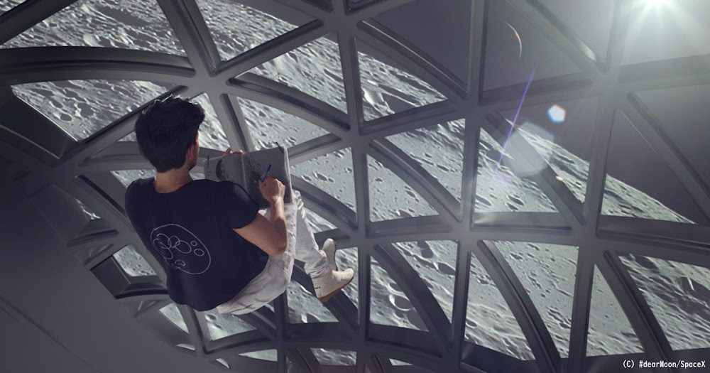 Artist flying in zero-G inside SpaceX dearMoon Starship