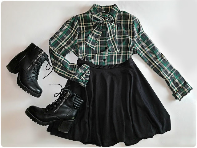 dresslily, fashion, moda, grunge, style, plaid, skirt, heels, boots, black, green, ootd, outfit, fall, autumn, outfit inspo (2)