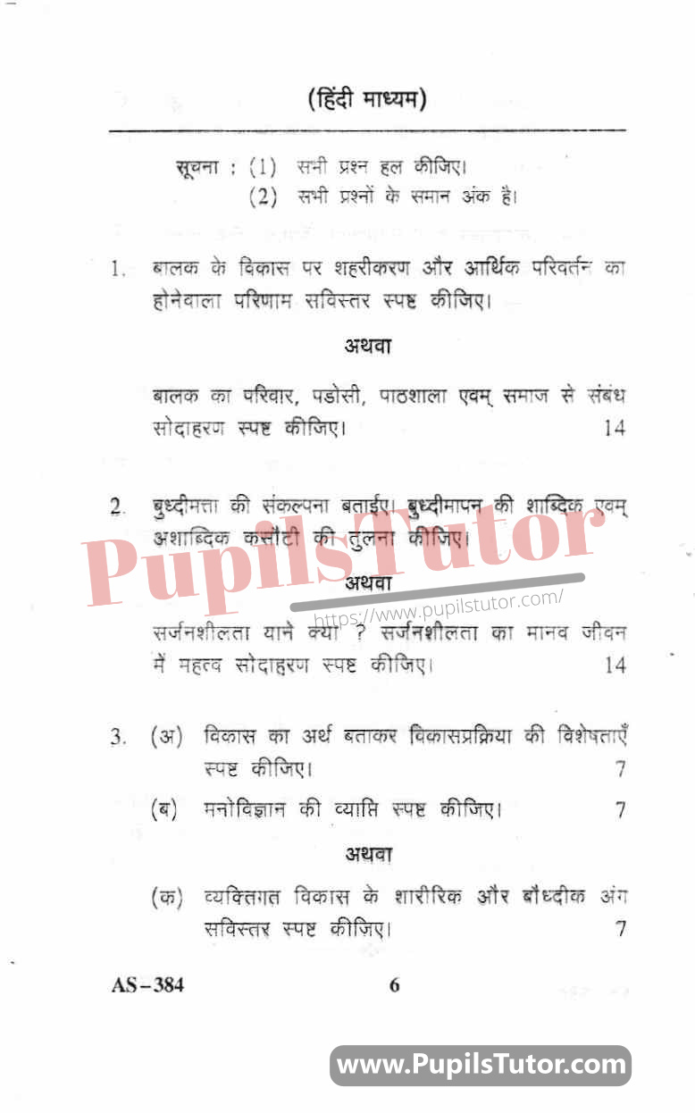 Childhood And Growing Up Question Paper In Hindi