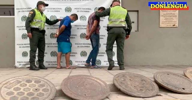 Dos venezolanos detenidos en Colombia por robarse las tapas de las alcantarillas