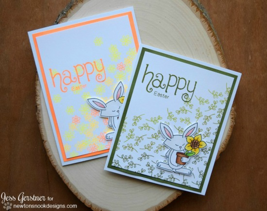 Happy Easter Cards with Bunny by Jess Gerstner | Garden Whimsy Stamp set by Newton's Nook Designs #newtonsnook #easter