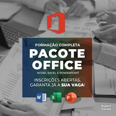 Curso Online Formação Pacote Office WORD - EXCEL - POWER POINT - 3 Cursos Livres Pela Compra de 1