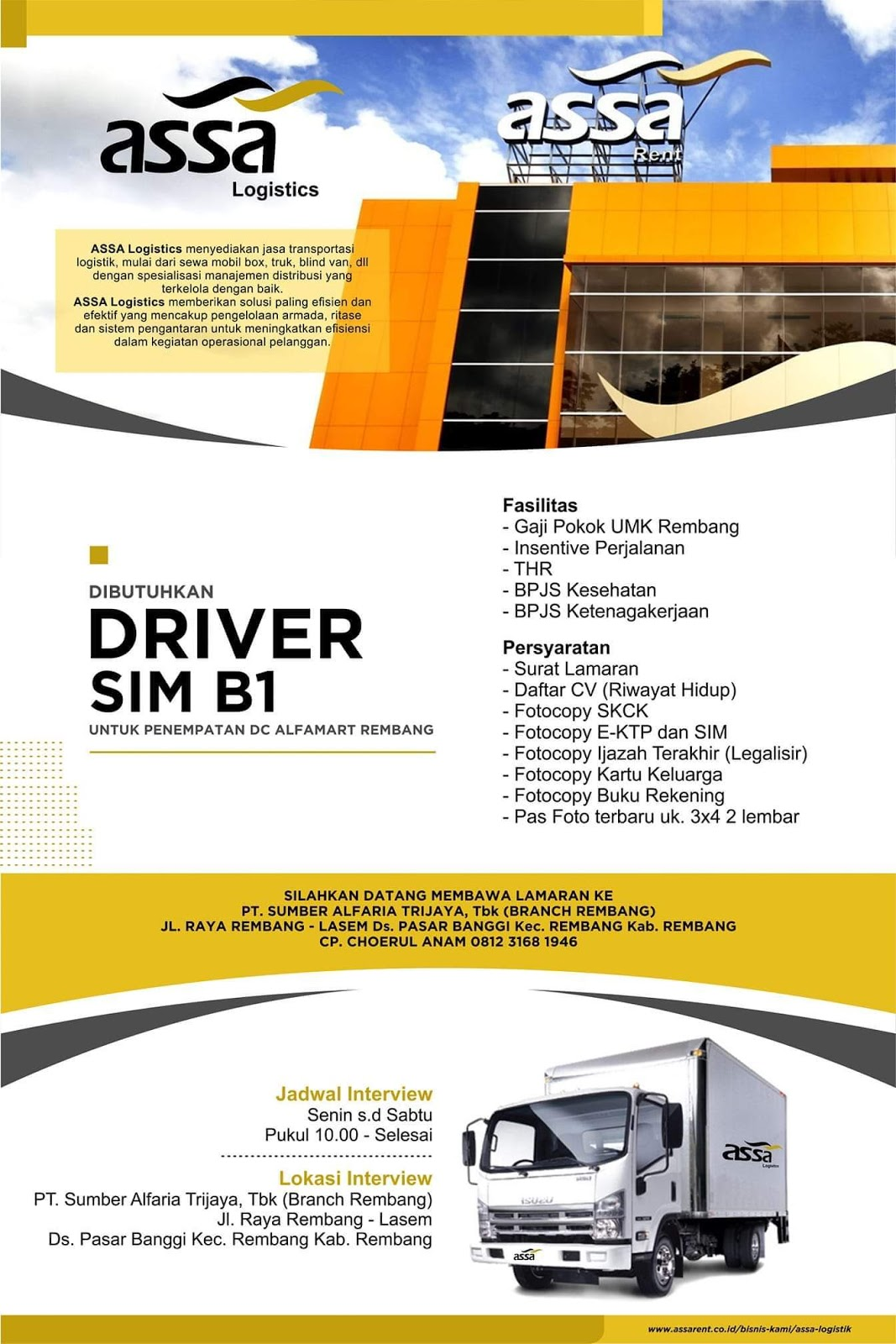 Lowongan Kerja Pt Adi Sarana Armada Tbk Assa Rembang Driver Sim B1 Untuk Alfamart Loker Swasta