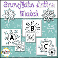 Snowflake Uppercase & Lowercase Letter Match, www.JustTeachy.com