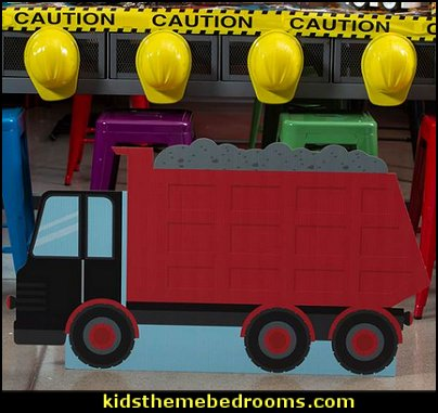 Construction Crew Dump Truck Standee  Construction party ideas - construction party decorations - digger construction party props - Dump Truck Party Decorations - crane construction theme party - work truck decorations - Digger Zone Boys Birthday Party -