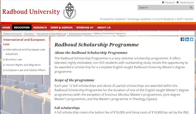 برنامج رادبود للمنح الدراسية ، هولندا ممولة وبعدة امتيازات