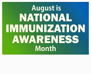 Green gradient background with the words August is National Immunization Awareness Month