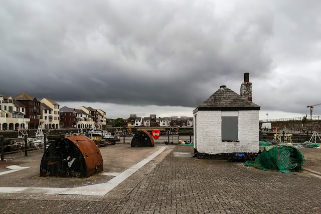 Phone photo of rain clouds over Maryport Harbour
