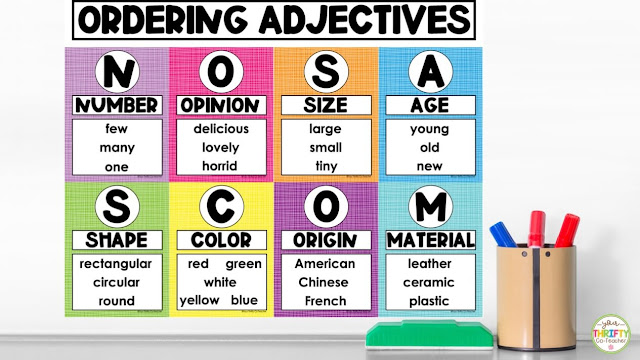 NOSASCOM posters for teaching the order of adjectives.