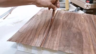 قطع منطقة اللحام في القشرة الخشبية