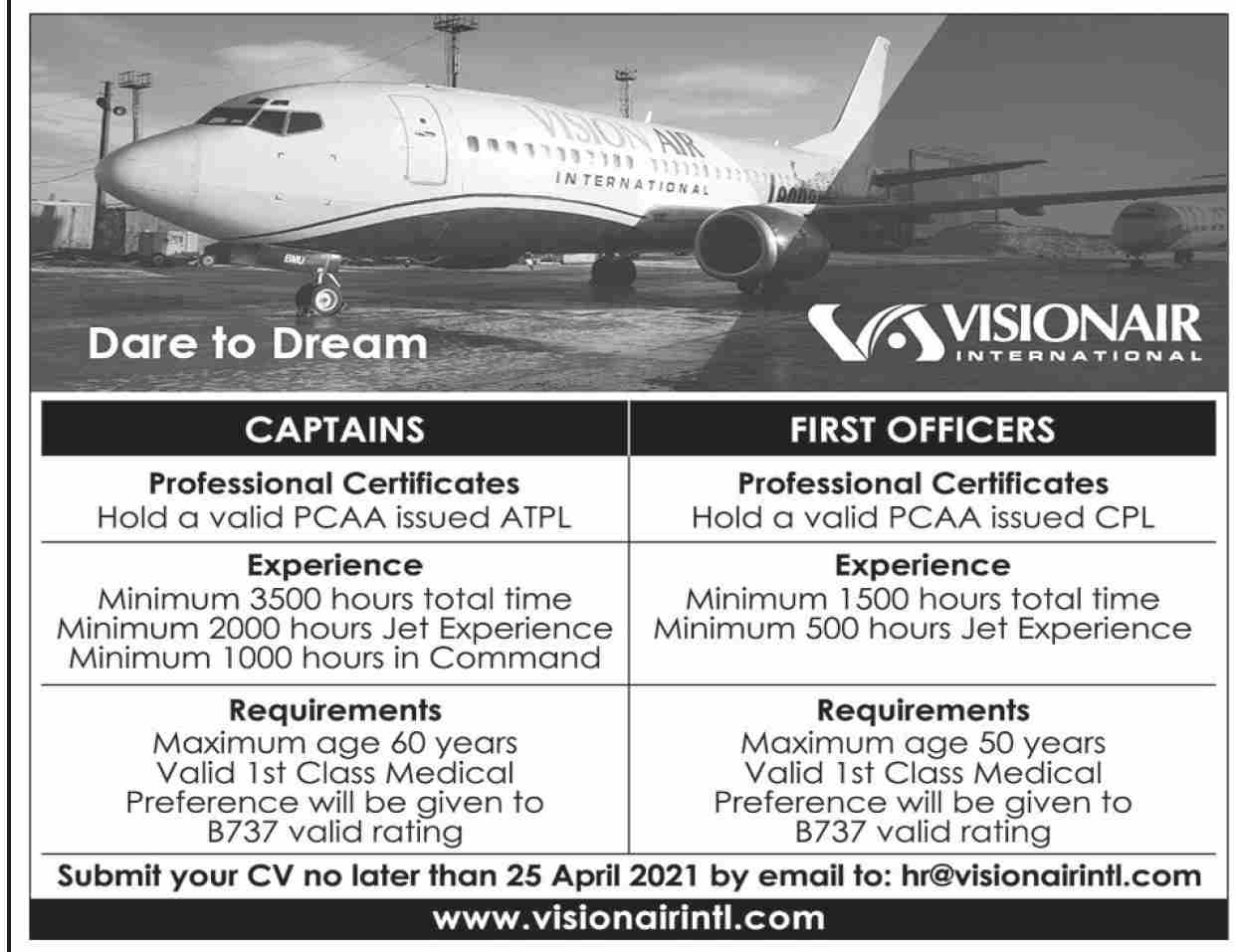 Vision Air International Jobs 2021 in Pakistan