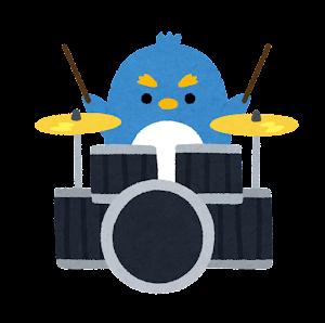 ペンギンのバンドのイラスト(ドラム)