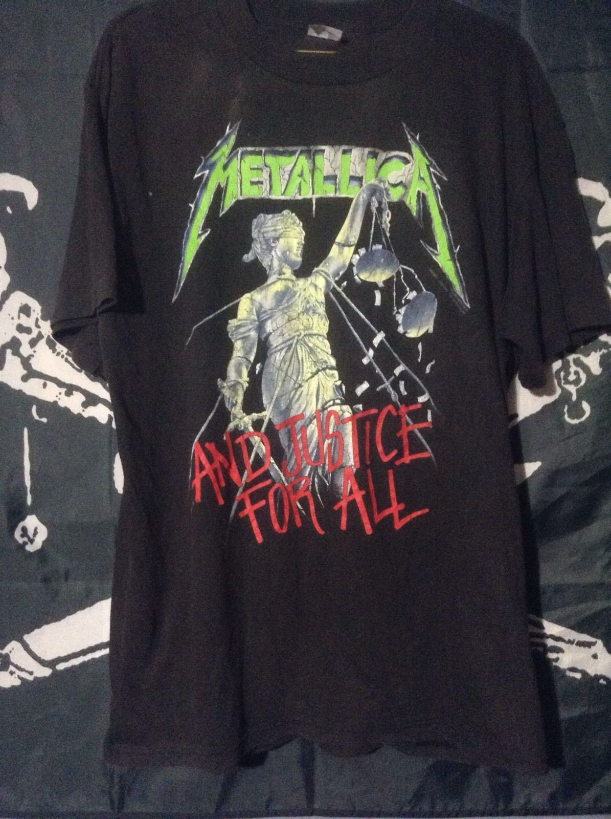 7bb9eea36 Vtg 80s Metallica And Justice For All Heavy Metal Tour T-shirt ...
