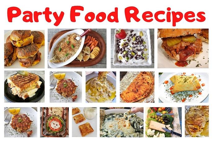 this is collage of party foods with photos of each one