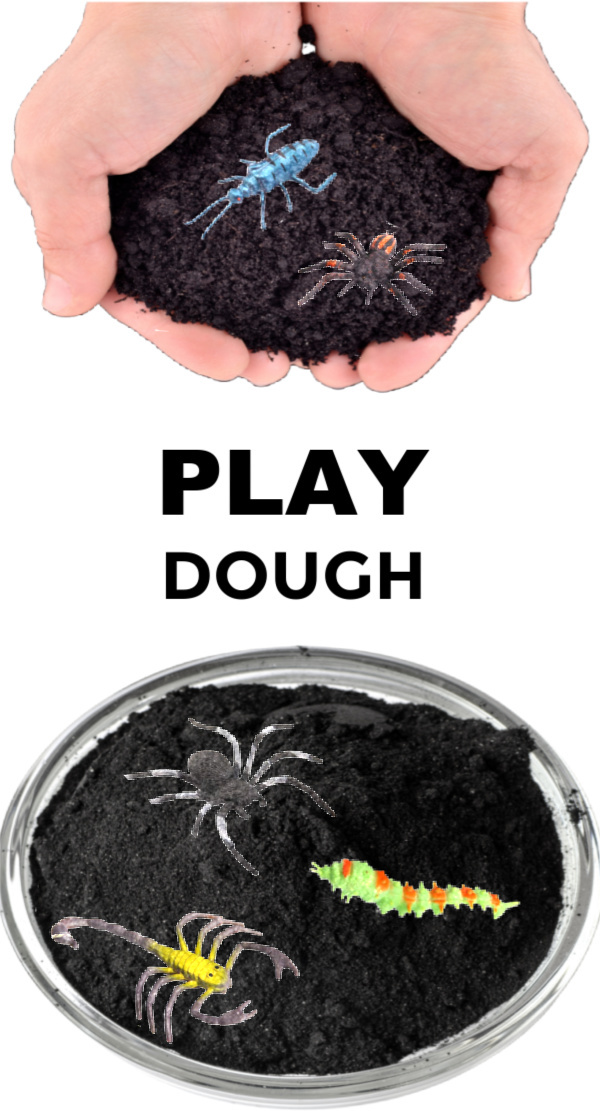 Make mold-able dirt for kids using this easy play dough recipe! #dirtdough #dirtdoughrecipesensoryplay #makedirtforkids #playdoughrecipe #activitiesforkids #growingajeweledrose