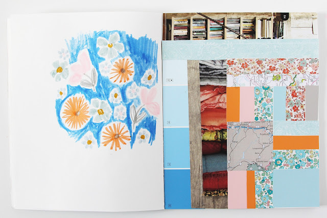 2x2 Sketchbook, sketchbooks, collaboration, collage, flowers, Dana Barbieri, Anne Butera