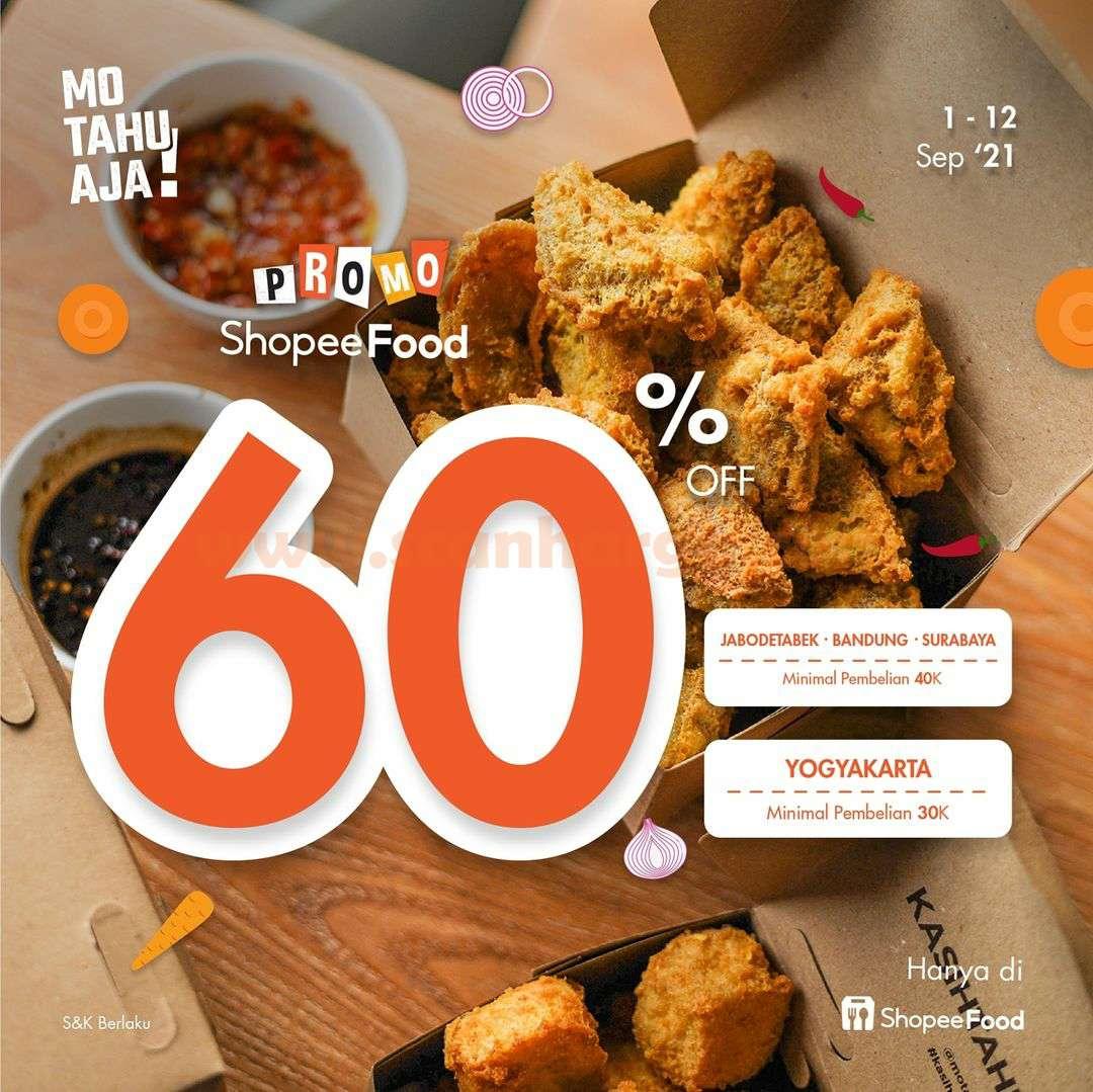 Promo MO TAHU AJA DISKON hingga 60% via ShopeeFood