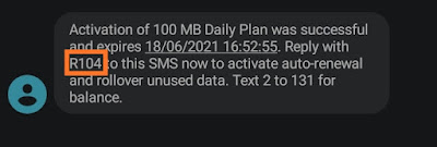 MTN 100mb data activation sms