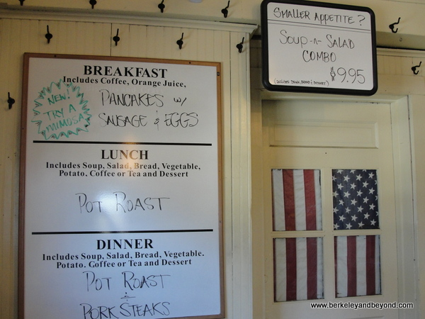 menu board at Samoa Cookhouse in Eureka, California