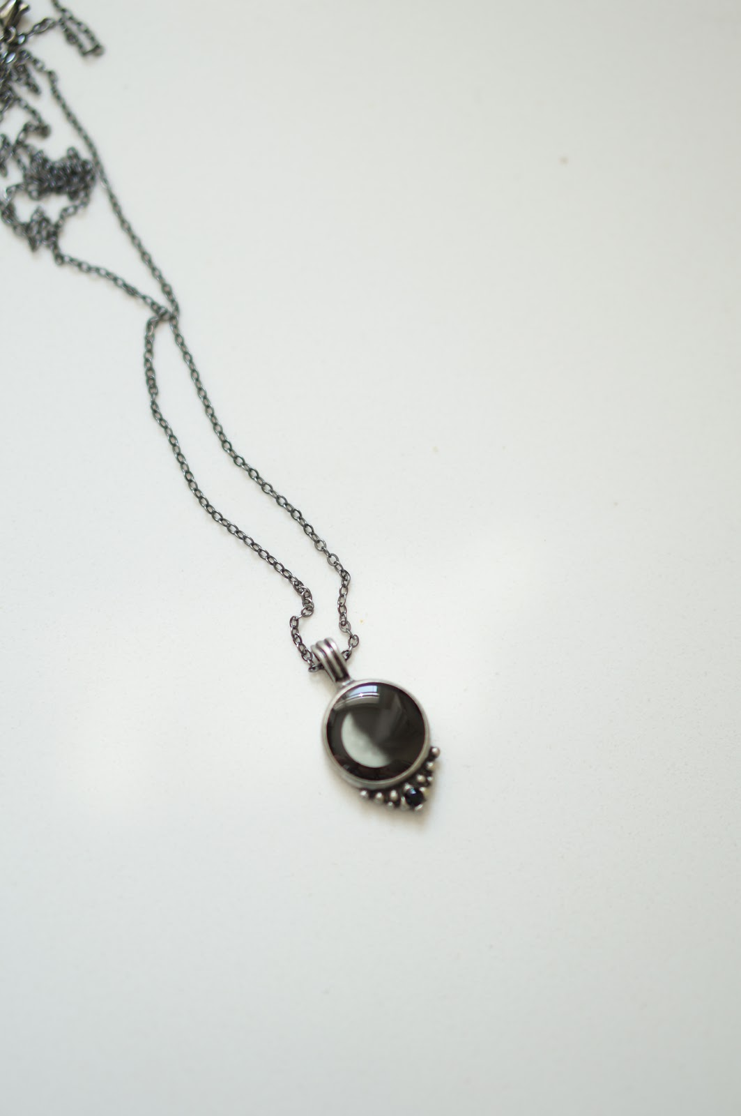 Rebecca Lately Moonglow Classic Necklace in Pewter